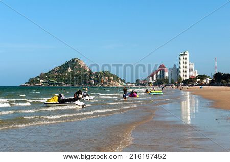 Hua Hin, Thailand - April 4, 2017: Beautiful seascape with a mountain Khao Takiab with a 20-meter Buddha statue and several temples. Hua Hin, Thailand