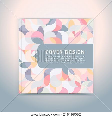 Geometric color cover in a modern flat style with space for a title and logo. Vector illustration. Brochure layout of the template cover design square booklet, magazine, leaflet. Seamless pattern.