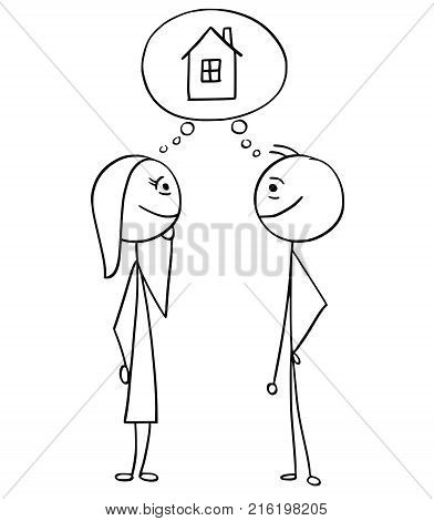 Vector Cartoon Of Man And Woman With Empty Blank Speech Bubble