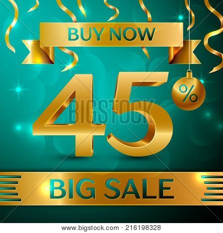 Realistic banner Merry Christmas with text Gold Big Sale buy now forty five percent for discount on green background. Confetti, christmas ball and gold ribbon. Vector Illustration