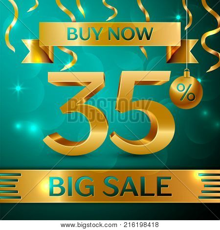 Realistic banner Merry Christmas with text Gold Big Sale buy now thirty five percent for discount on green background. Confetti, christmas ball and gold ribbon. Vector Illustration