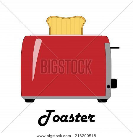 Color vector illustration of the toaster on the white background.