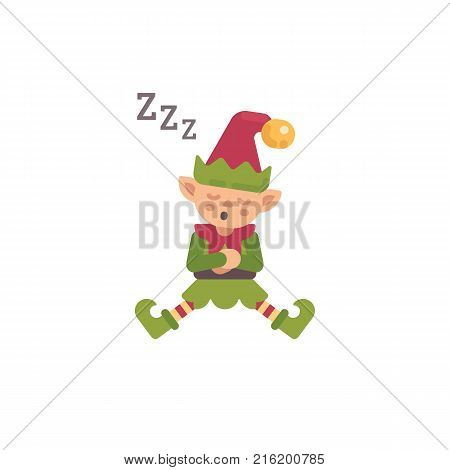 Cute Christmas elf sleeping after a hard day. Santa Claus elf flat character illustration