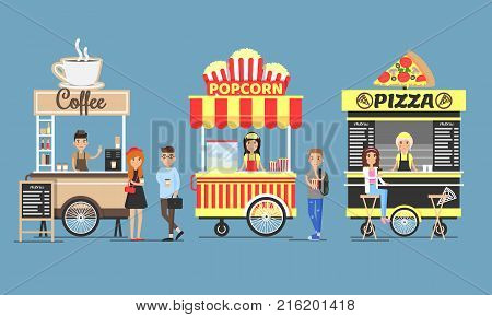 Coffee, Popcorn and Pizza Booths colorful icons isolated on blue background. Vector illustration with fast food booths surrounded by customers