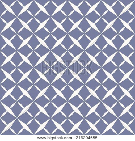 Ornamental grid seamless pattern. Abstract geometric blue and white texture with grid, lattice, rhombuses, cross shapes. Simple repeat background. Design for decoration, prints, covers, cloth, linensm fabric. - Stock vector