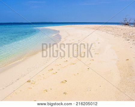 Maldives background, Atoll, Indian Ocean. White sand beach and turquoise water of the lagoon. Asdu in Male North.