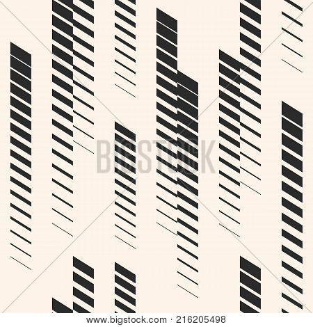 Abstract geometric seamless pattern with vertical fading lines, tracks halftone stripes. Extreme sport style illustration, urban art. Monochrome graphic texture. Creative design. Halftone pattern. Sport pattern. Stripes pattern. Geometric pattern.