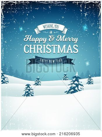 Illustration of a retro christmas landscape background with firs snow and elegant banners for winter and new year holidays