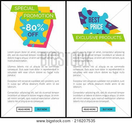Special promotion -80 off, best price and exclusive products, graphic sticker on sale theme and discounts vector illustration web posters with buttons