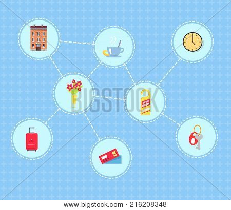 Hotel services vector illustrations net. Brick building, coffee cup, red flowers, heavy suitcase, paper tickets, door tag, room keys, round clock.