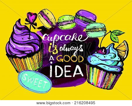 Sweet ia always a good idea. Watercolor background.  Dessert vector illustration.