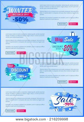 Winter season best discount -30 off 2017 final sale 70 labels with snowballs and snowflakes on abstract blue background seasonal vector posters set