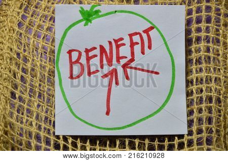 word benefit on an abstract colored background