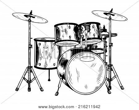 Drum set engraving vector illustration. Scratch board style imitation. Hand drawn image.