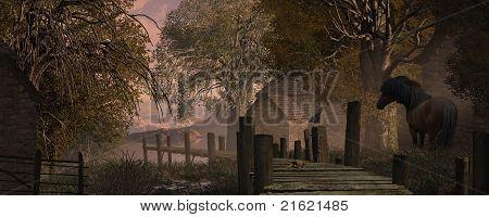 Farm Scene And Old Pier