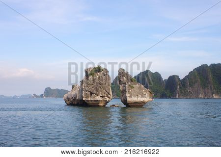 Travel In Halong Bay. The Sea And Blue Sky On The Boat. Halong City, Vietnam. 2011, August 6Th.