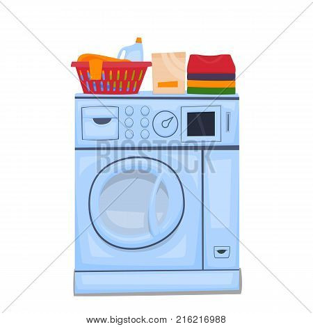 Automatic washing machine for laundry. Vector illustration.