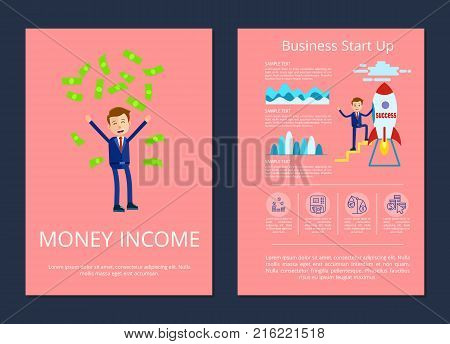 Money income and business start up, businessman tossing up money and standing on rocket, text and icons vector illustration isolated on pink