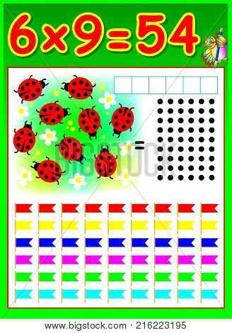 Educational page for children with multiplication by six. Vector image.