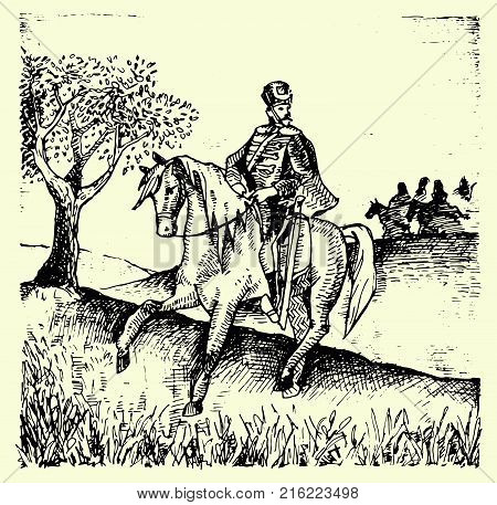 Hand drawn Horse Grenadier. Imperial Old Guards. France, 1812.