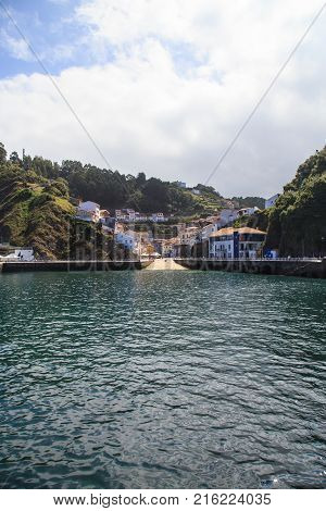 Nice views from Cudillero, small fishing village in Asturias, Spain, in a sunny day.