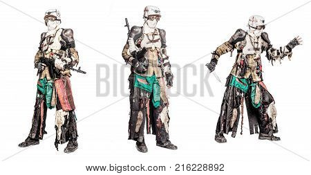 Post apocalyptic survivor creature with homemade weapons set collection