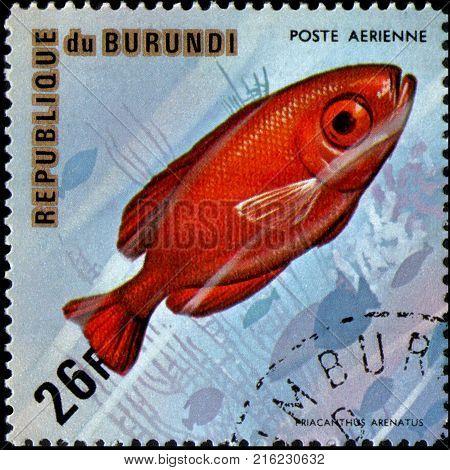BURUNDI - CIRCA 1974: a postage stamp, printed in Burundi, shows a fish Atlantic Bigeye (Priacanthus arenatus)