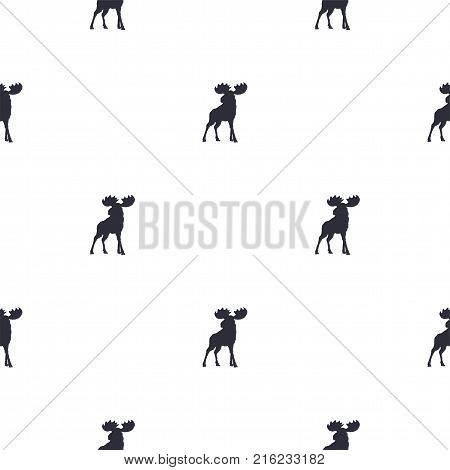 Moose pattern. Wild animal symbols seamless background. Moose icons. Retro wallpaper. Vintage Stock vector illustration isolated on white.