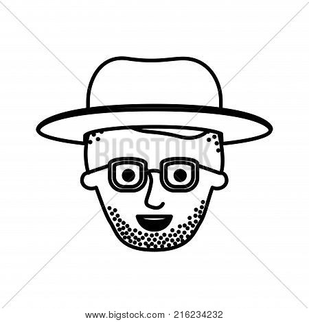 male face with hat and glasses and high fade haircut and stubble beard in monochrome silhouette vector illustration