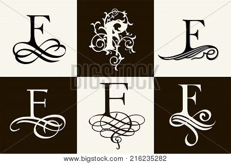 Vintage Set . Capital Letter F for Monograms and Logos. Beautiful Filigree Font. Victorian Style