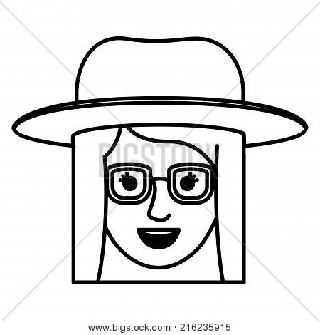 female face with hat and glasses and short straight hairstyle in monochrome silhouette vector illustration