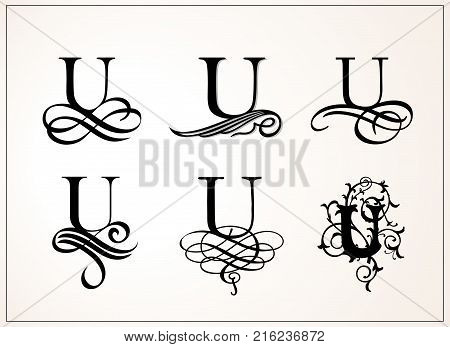 Vintage Set . Capital Letter U for Monograms and Logos. Beautiful Filigree Font. Victorian Style