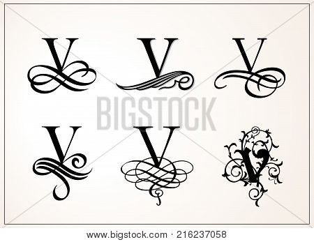 Vintage Set . Capital Letter V for Monograms and Logos. Beautiful Filigree Font. Victorian Style