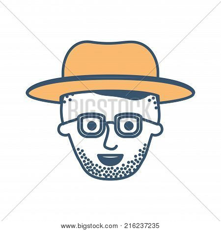 male face with hat and glasses and high fade haircut and stubble beard in color sections silhouette vector illustration