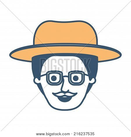 male face with hat and glasses with short hair and moustache in color sections silhouette vector illustration