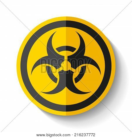Biohazard sign icon in flat style on white background, toxic emblem, vector design illustration for you project