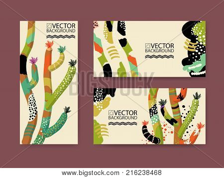 Abstract trendy illustration background placard floral stylized cactus succulent plant style flat and 3d design elements. Unique art for covers banners flyers and posters. eps10