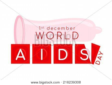 World aids day banner with pink condom and AIDS text on red Envelope condom vector design