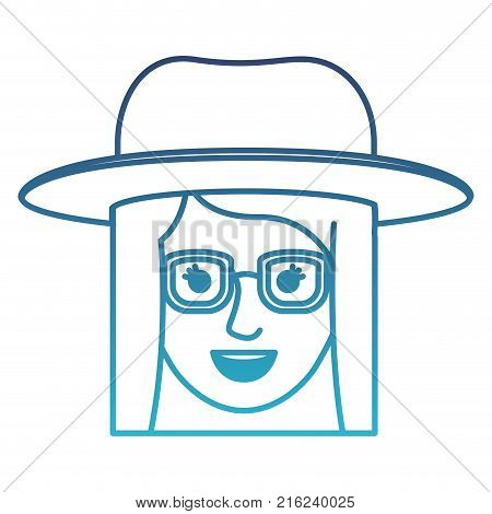 female face with hat and glasses and short straight hairstyle in degraded blue silhouette vector illustration