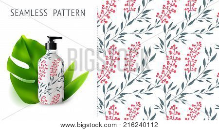 A set of summer seamless patterns demonstrated on mockup installation with bottle. Can be used for embroidery print or silkscreen on fabric.