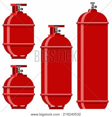 Red Gas Tank Icon Set Isolated on White Background