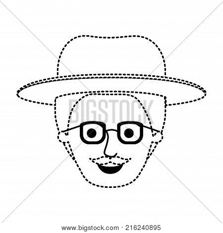 male face with hat and glasses with short hair and moustache in black dotted silhouette vector illustration