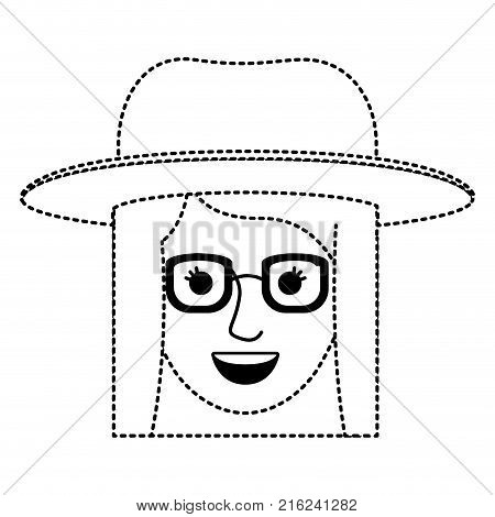 female face with hat and glasses and short straight hairstyle in black dotted silhouette vector illustration