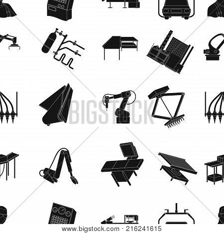 Technical progress and other  icon in black style.Equipment and machinery of the enterprise icons in set collection.
