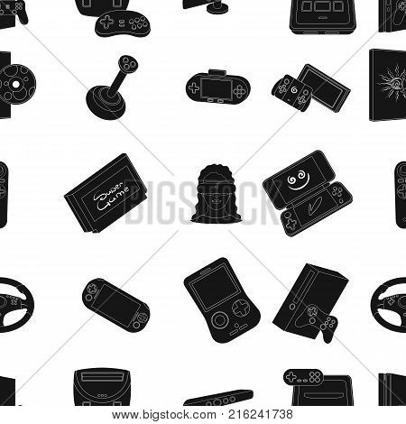 Game console and virtual reality black icons in set collection for design.Game Gadgets vector symbol stock illustration.