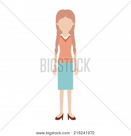 faceless woman full body with blouse and skirt and heel shoes with braided hair in colorful silhouette vector illustration