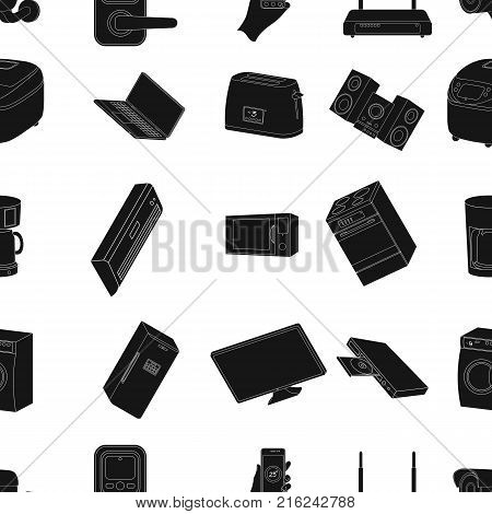Modern household appliances black icons in set collection for design.Household items vector symbol stock  illustration.