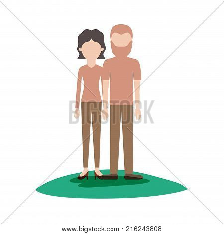 faceless couple colorful scene outdoor and her with blouse long sleeve and pants and heel shoes with short wavy hair and him with t-shirt and pants and shoes with short hair and beard vector illustration