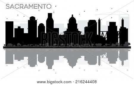 Sacramento City skyline black and white silhouette with Reflections. Business travel concept. Cityscape with landmarks.