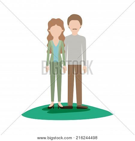faceless couple colorful scene outdoor and her with blouse and jacket and pants and heel shoes with wavy long hair and him with shirt and pants and shoes with short hair and moustache vector illustration